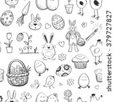 seamless pattern of funny hand ... | Shutterstock .eps vector #379727827
