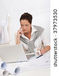 female architect with laptop... | Shutterstock . vector #37973530