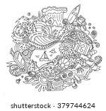 cartoon doodle summer vacation... | Shutterstock .eps vector #379744624