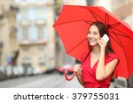 Happy Woman In Red Talking On A ...