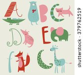 zoo alphabet with cute animals... | Shutterstock .eps vector #379762519
