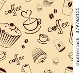 seamless coffee background with ...   Shutterstock .eps vector #379763125