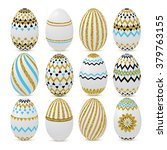 gold glitter easter eggs.... | Shutterstock .eps vector #379763155