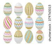 gold glitter easter eggs.... | Shutterstock .eps vector #379765015