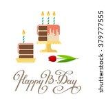 happy birthday greeting card.... | Shutterstock .eps vector #379777555