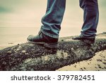 man in jeans and elegant shoes... | Shutterstock . vector #379782451