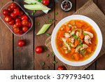 tomato chicken soup with... | Shutterstock . vector #379793401