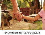 a the parent holds the hand of... | Shutterstock . vector #379798315