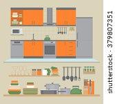 kitchen interior and shelves...   Shutterstock .eps vector #379807351