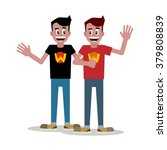 flat two man pose | Shutterstock .eps vector #379808839
