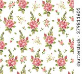 Florak Pattern With Pink Roses.