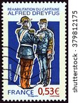 Small photo of FRANCE - CIRCA 2006: A stamp printed in France shows reinstatement of Captain Alfred Dreyfus, circa 2006.