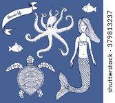 sketch marine set with mermaid... | Shutterstock .eps vector #379813237
