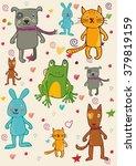 funny cartoon animal set in... | Shutterstock .eps vector #379819159