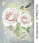 english roses on vintage... | Shutterstock . vector #379832731