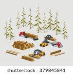 lumber stock. logs loading on... | Shutterstock .eps vector #379845841