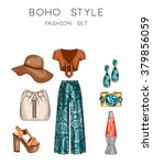 fashion set of woman's clothes... | Shutterstock . vector #379856059