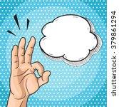 man showing ok hand sign in pop ... | Shutterstock .eps vector #379861294