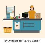 supermarket store counter desk... | Shutterstock .eps vector #379862554