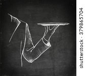 chalk drawing waiter hand... | Shutterstock .eps vector #379865704