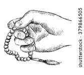 hand holding a muslim rosary.... | Shutterstock .eps vector #379866505