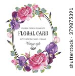 vintage floral greeting card... | Shutterstock . vector #379875391