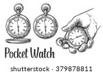 antique pocket watch. engraving ... | Shutterstock .eps vector #379878811