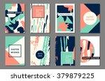 mint peach pastel set of... | Shutterstock .eps vector #379879225