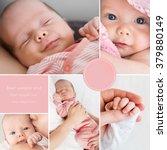 collage of newborn baby's photos   Shutterstock . vector #379880149