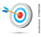 dart arrow hitting center... | Shutterstock .eps vector #379889584