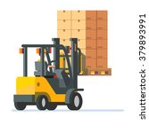 forklift truck carrying a... | Shutterstock .eps vector #379893991