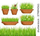 vector set of plants in pots ... | Shutterstock .eps vector #379894561