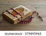 old holy bible on rustic wooden ... | Shutterstock . vector #379895965