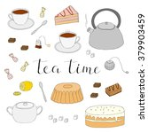 hand drawn tea items isolated... | Shutterstock .eps vector #379903459