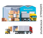 logistics warehouse with... | Shutterstock .eps vector #379904095