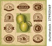 vintage apple stamps set.... | Shutterstock .eps vector #379905469