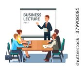 modern business teacher giving... | Shutterstock .eps vector #379908085