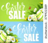 easter sale background with... | Shutterstock .eps vector #379922389