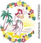 retro hawaiian design of hula... | Shutterstock .eps vector #379930261