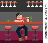 drunk man. vector flat... | Shutterstock .eps vector #379951174