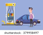 gas station and man. vector... | Shutterstock .eps vector #379958497