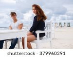 redhead woman and casual man... | Shutterstock . vector #379960291
