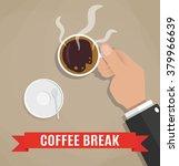 cartoon businessman holding cup ... | Shutterstock .eps vector #379966639