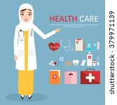 muslim woman doctor wearing... | Shutterstock .eps vector #379971139
