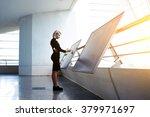 beautiful female reading... | Shutterstock . vector #379971697