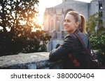 Young Smiling Woman Traveler...