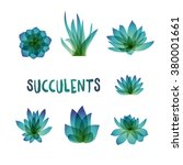 graphic set of succulents... | Shutterstock .eps vector #380001661