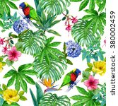 watercolor tropical seamless... | Shutterstock . vector #380002459