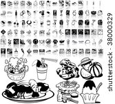 food set of black sketch. part... | Shutterstock .eps vector #38000329