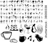 food set of black sketch. part... | Shutterstock .eps vector #38000338